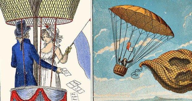 Dobové vyobrazení historicky prvního seskoku padákem