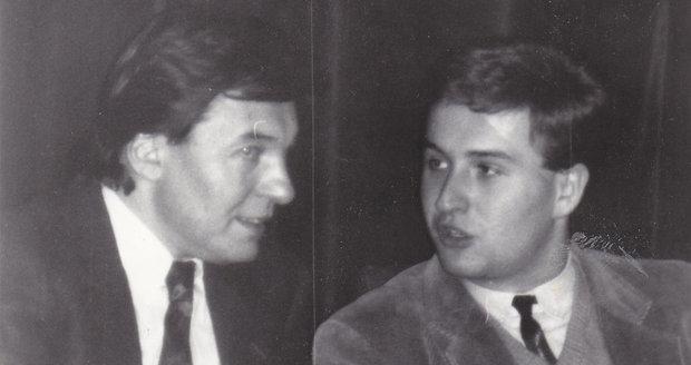 Karel Gott s Janem Adamem na besedě v klubu Iuridica (1986)