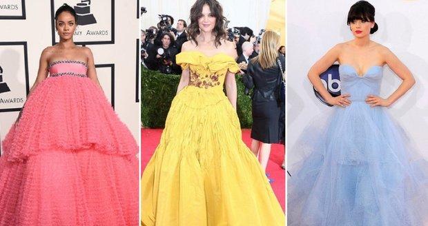 Slavné krásky zvolily podobné šaty jako Disneyho princezny.