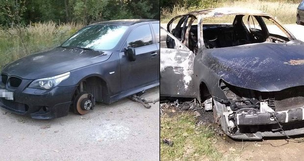 Zlodějina v Brně: Luxusní BMW rozebrali na karoserii, pak ji zapálili