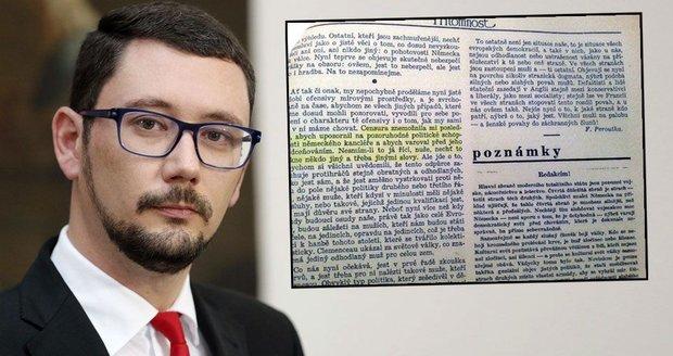 """""""Kauza Peroutkův článek"""": Máme novou stopu v hledání, chlubí se Ovčáček"""