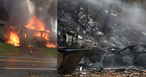 Tryskáč se zřítil na rodinný dům v USA: Devět lidí zemřelo v plamenech
