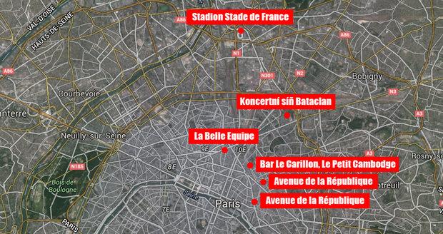 Mapa teroru v Paříži: Stadion, klub a několik restaurací!