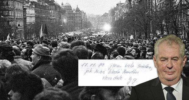 """""""Miloš"""" na Národní v '89 byl. """"Hledal tam Peroutku vlevo dole,"""" vtipkují lidé"""