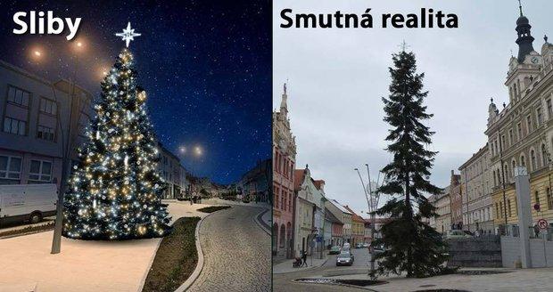 Namísto vánočního stromu oškubané koště, obyvatelé Strakonic se smějí a rozčilují