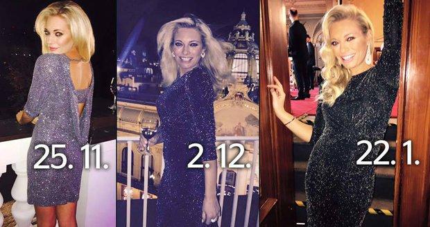 Lucie Borhyová vynesla třikrát po sobě stejné šaty. f4670607f5