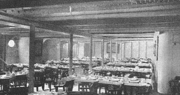 Původní jídelna pro třetí třídu na Titanicu.