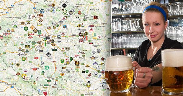 Mapa českých pivovarů