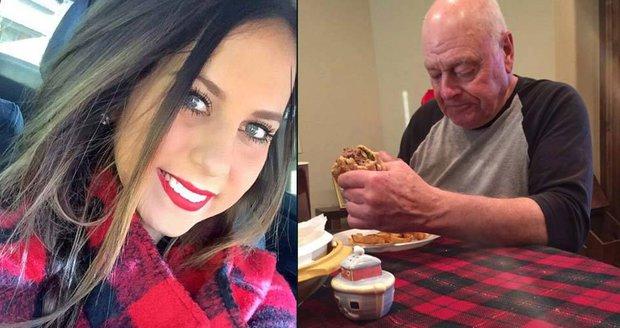 Mladá dívka jako jediná ze šesti vnoučat přišla na večeři s dědečkem.