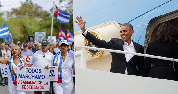 Obama za pár hodin přiletí na Kubu: Policie mezitím zadržela disidentky