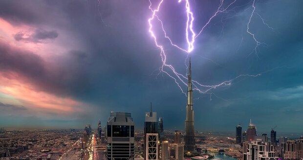 Nejvyšší mrakodrap světa Burdž Chalífa v Dubaji.