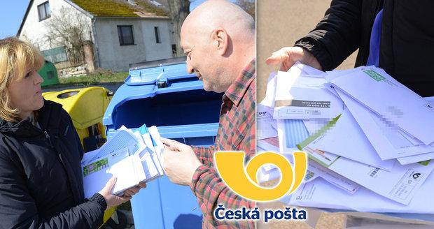 Korespondence rozvážená Českou poštou mezi odpadky: Dopisy, výpisy, složenky...válely se v kontejneru!