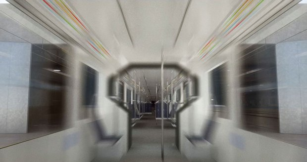 Vizualizace interiéru jedoucí soupravy metra na trase D