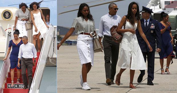Obama vyvezl ženu a dcery na ostrov pro smetánku USA. Naposledy coby prezident