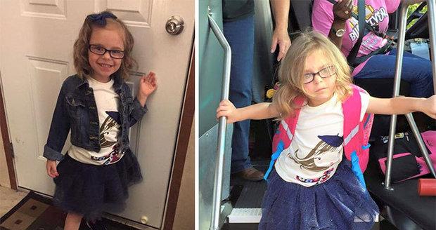 První den ve škole stál tuto holčičku mnoho úsilí!