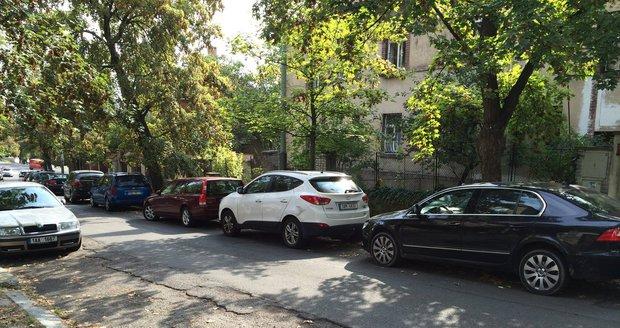 Pražané parkují na pomezí modrých zón:Ulice U Nesypky, Smíchov