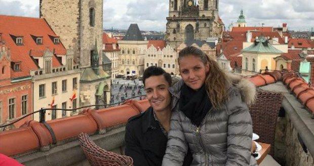 Karolína Plíšková s Michalem Hrdličkou na nedělním obědě.