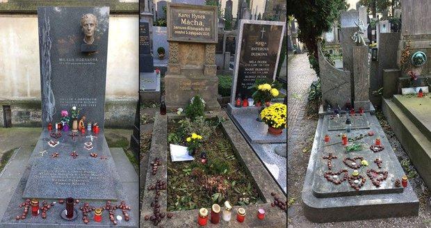 Lidé si v období Dušiček vzpomněli i na slavné osobnosti. Takto vyzdobili hroby Milady Horákové, Vlasty Buriana a Karla Hynka Máchy.