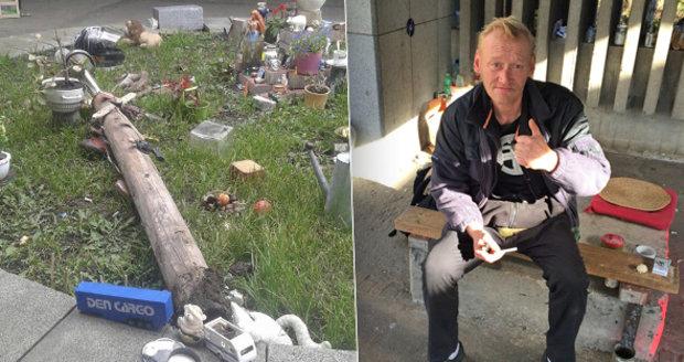Bezdomovec zvelebil nádraží, ale vandal mu záhony rozkopal. Lidé pak ukázali velkou solidaritu