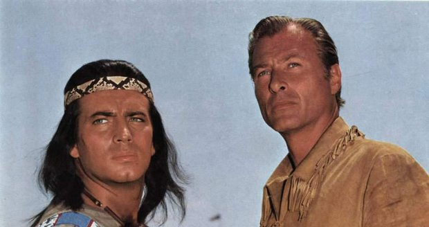1963: Lex Barker jako Old Shatterhand a Pierre Brice jako Vinnetou.