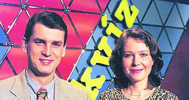 Moderátoři Aleš Zbořil a Eva Machourková před dvaceti lety
