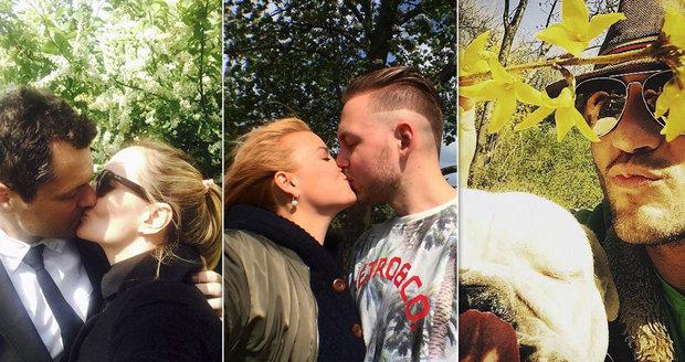 Prvomájové polibky slavných: Někdo líbal partnera, jiný psa!
