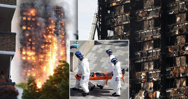 Nikdo nepřežil, říkají hasiči o lidech z horních pater shořelého domu v Londýně. Mrtvých mohou být stovky