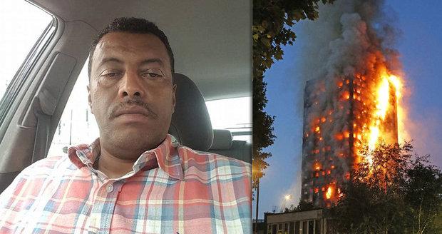 Zabalil si věci a až pak volal hasiče! Ohnivé peklo v Londýně prý vzniklo v bytě taxikáře