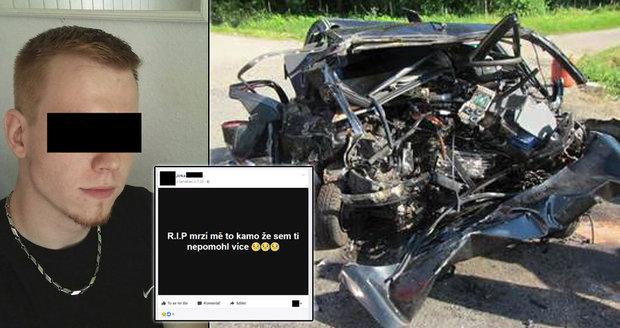 Někdo zemře šťasten a... někdo zas předčasně: Přátelé mladého řidiče od Vnorov truchlili na Facebooku.