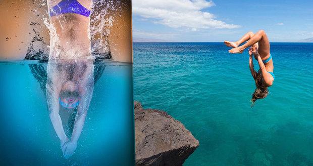 Při skákání do vody je důležité dbát o bezpečnost.