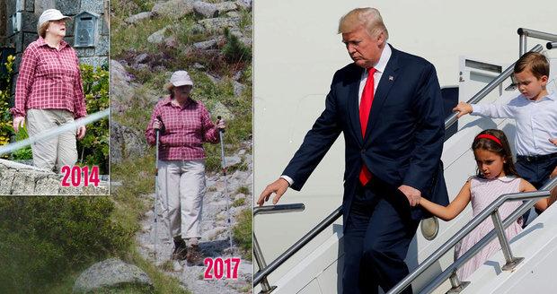 Do Trumpa šijí, že si vzal dlouhou dovolenou. Letní outfit Merkelové baví internet