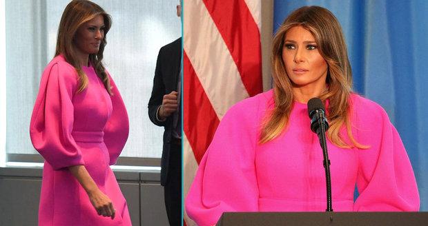 Ani v růžovém neoslnila. Melania Trumpová sklidila kritiku za řeč před ženami lídrů