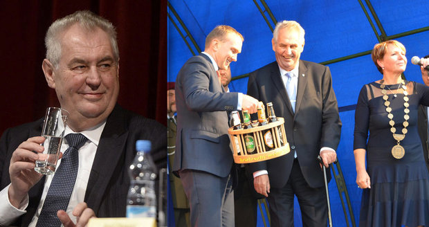 """Zeman omezil alkohol, zní z jeho okolí. """"Piji s neutuchající chutí,"""" kontroval prezident"""