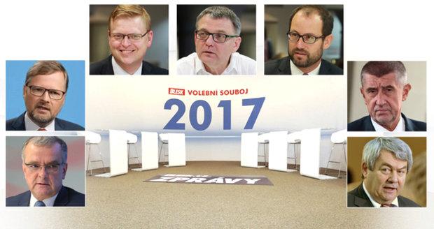 """Ostrý souboj sedmi volebních lídrů: """"Po krku"""" si v Blesku půjdou 2 dny před volbami"""