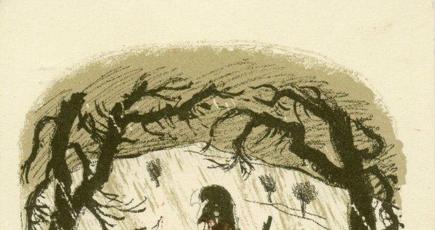 """Pohlednice s litografií """"Vzpomeňte svých bratří v poli"""", Max Švabinský, 1914."""