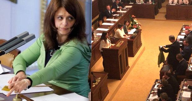 Jermanová dala Kalouskovi zelený svetřík. Šil do ní, když zatrhla poslancům alkohol
