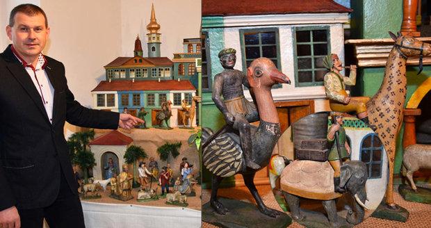Žirafa s koňskou hlavou nebo slon s krunýřem: Unikátní betlém vyřezal mlynář jen podle doslechu