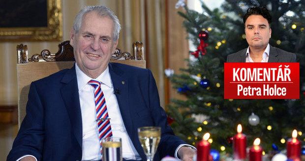 Komentář: Zeman nadělil ve vánočním poselství Ježíška. Nejvíc sobě do voleb