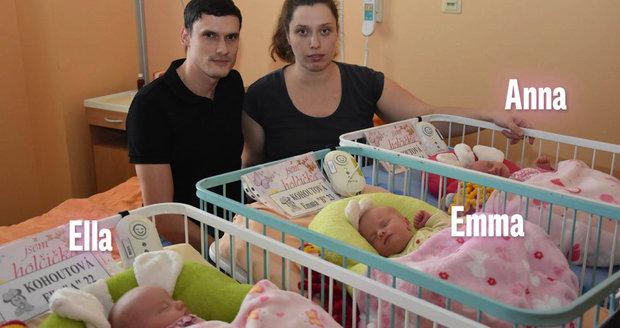 Seznamte se, to jsou ona! Plzeňská trojčata: Ella, Emma a Anna! Rodiče je počali přirozeně