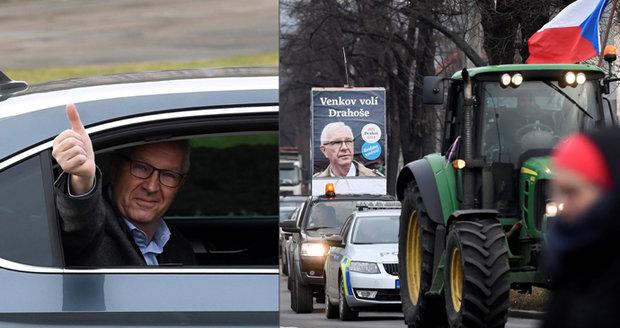 """""""Zeman škodí venkovu."""" Drahoše podpořili sedláci, prezidenta potravináři"""