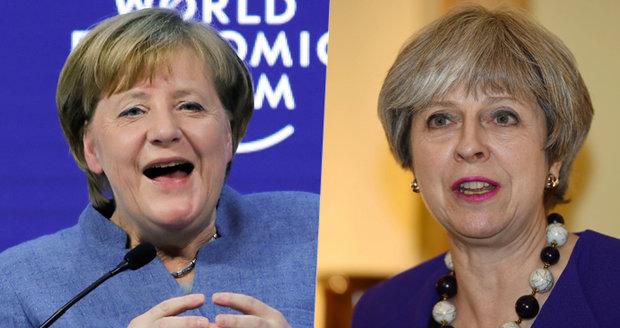 Merkelová si prý utahovala v Davosu z Mayové. Historkou bavila i novináře
