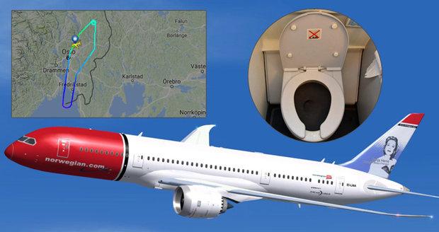 Letadlu se rozbil záchod a muselo nouzově přistát. Bylo v něm 84 instalatérů