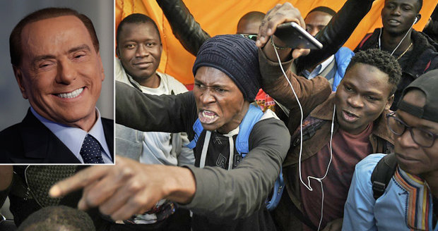 """""""Migranti jsou sociální bomba."""" Italský expremiér Berlusconi zbrojí na volby"""