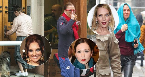 Velký přehled nenalíčených celebrit: Stivínová s burčákem i zahalená Uma Thurman!