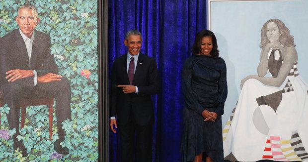 Barackův obraz je z Číny a Michelle si není podobná. Obamovi odhalili své portréty