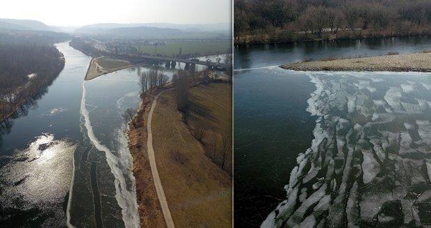 """Nevídaná podívaná, ze které až """"mrazí"""": Pozdní zima zledovatěla soutok Berounky s Vltavou"""