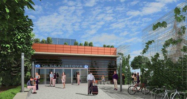 Stanice metra Olbrachtova. Jedná se o starší vizualizaci, o konečné podobě stanice se stále jedná.