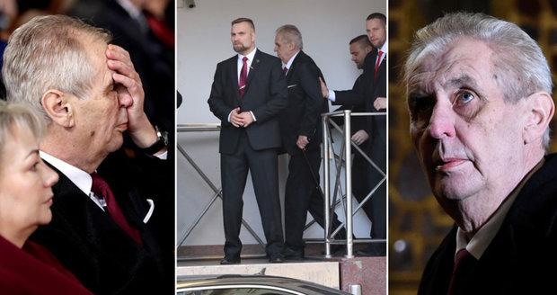 Zemanovo inaugurační utrpení: Vezli ho 234 metrů, stěhovali plošinou a těžce dýchal