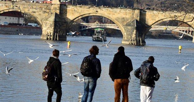 Teploty v Praze dosahovaly téměř 20 stupňů, lidé vyrazili do ulic.
