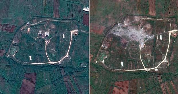 Rakety vymazaly Asadovy bašty z mapy, ukazují satelitní snímky Sýrie